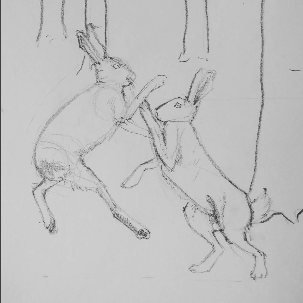 illustrated fabric wall hanging - close up of pencil design - boxing hares