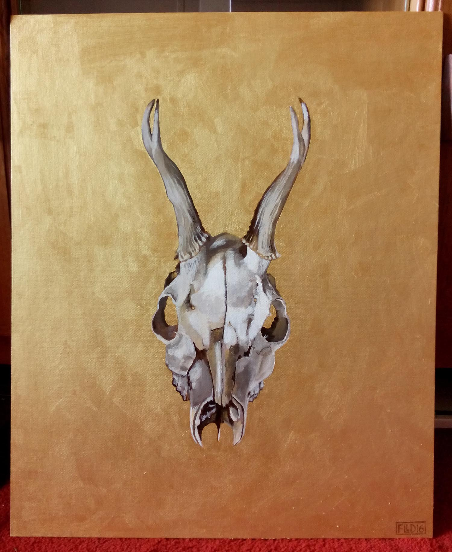 skull painting deer death gold art