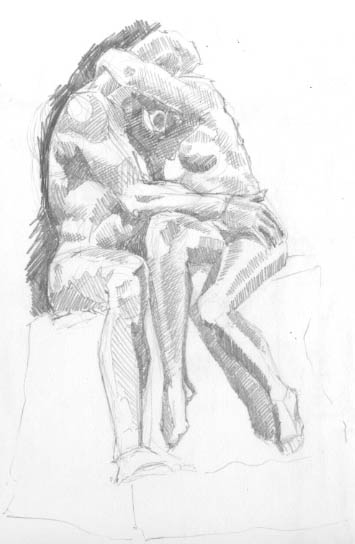 pencil sketch of Rodin's The Kiss