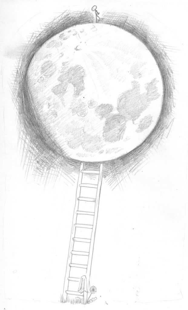 Pencil drawing of the waxing moon
