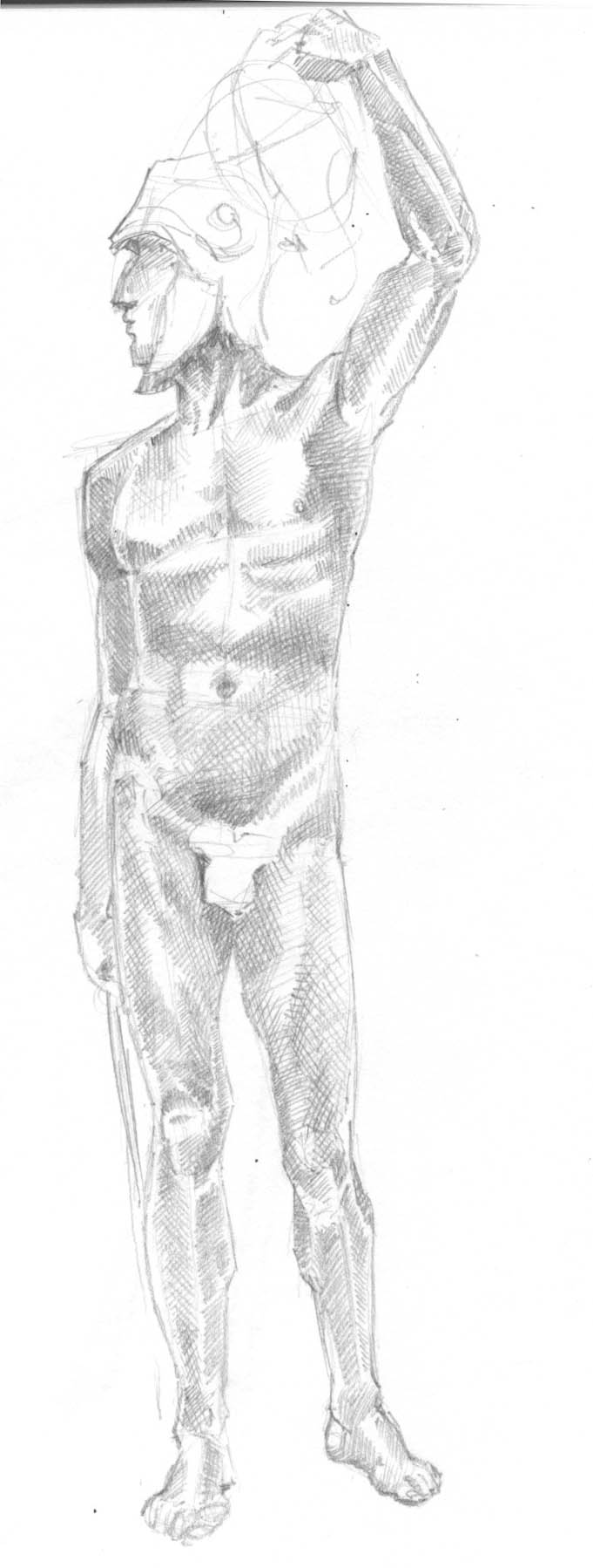 pencil sketch of sculpture of Perseus holding Medusa's head aloft