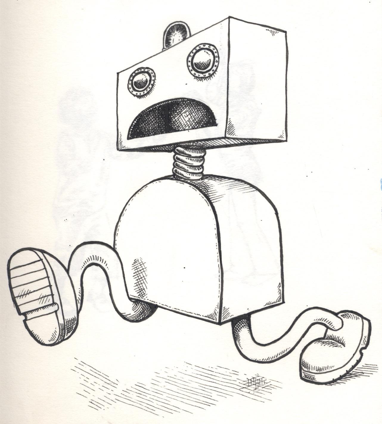 panic robot illustration