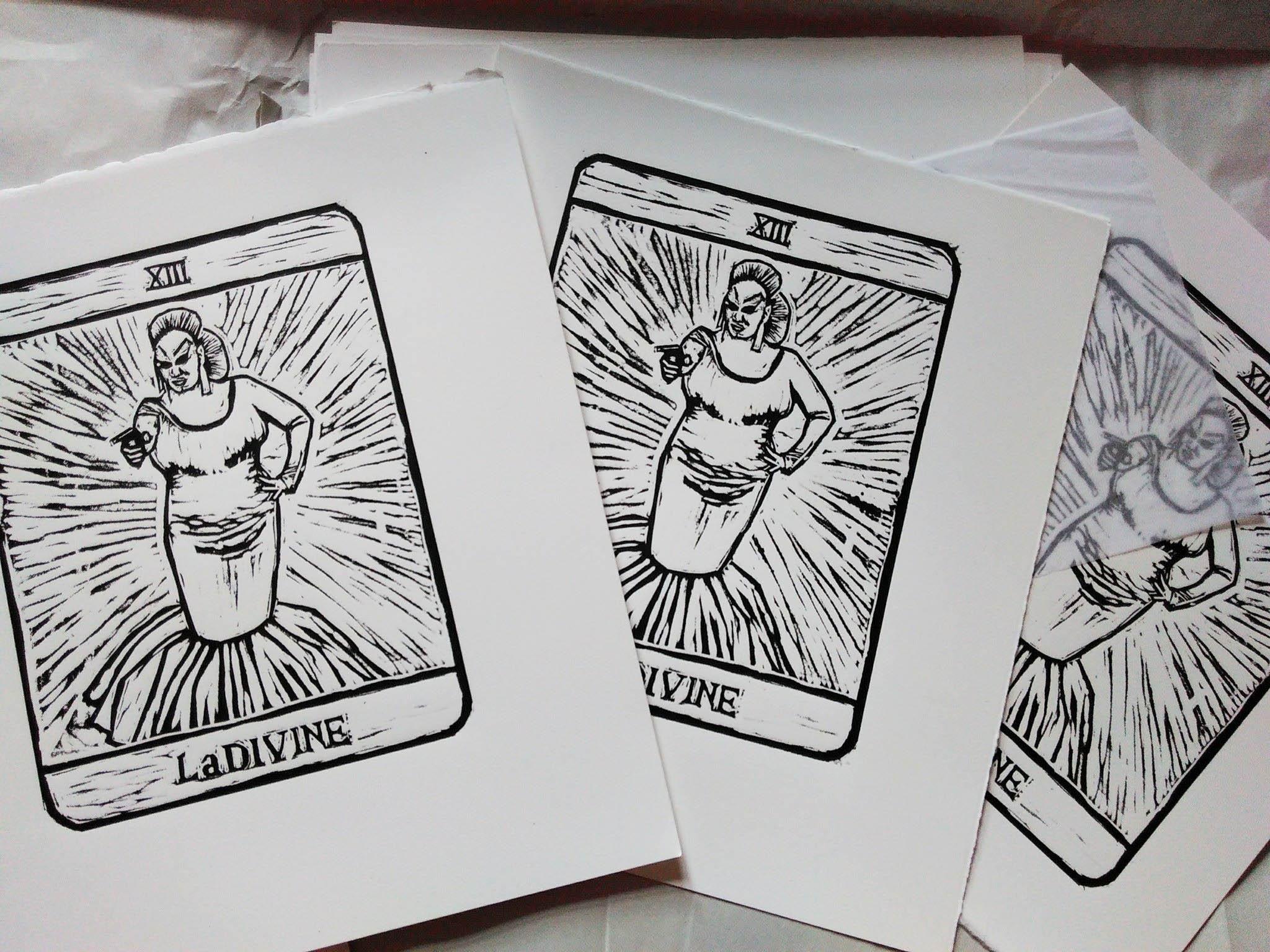 Linocut print of Divine – coming soon!