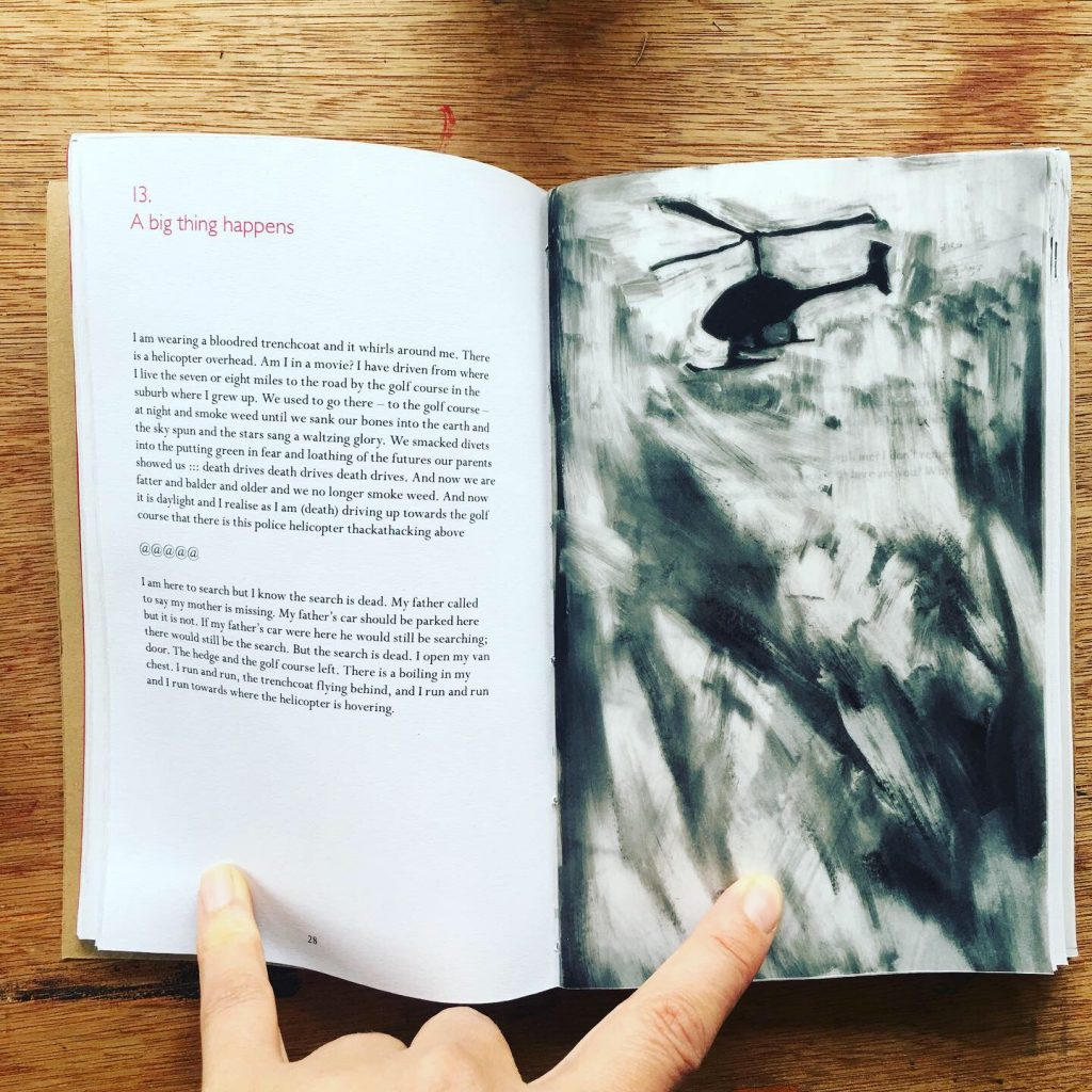 oil painting illustration of helicopter in smeary sky in book by Carmarthen illustrator Frank Duffy