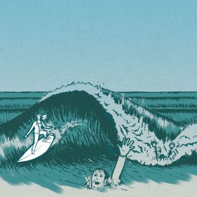 Surfing illustration and typography