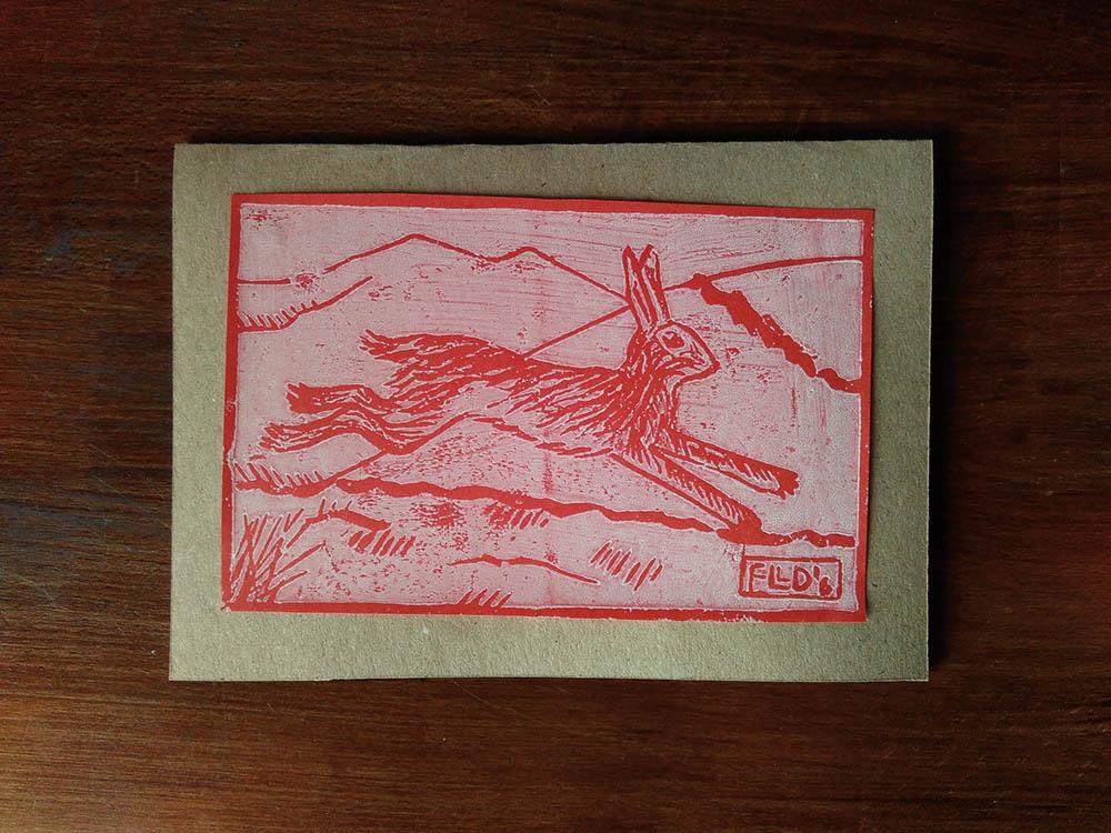 Yule card – first linocut print