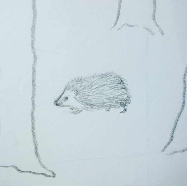 illustrated fabric wall hanging - close up of pencil design - hedgehog