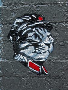 Graffiti stencil of a tabby cat in a communist uniform - Chairman Meow