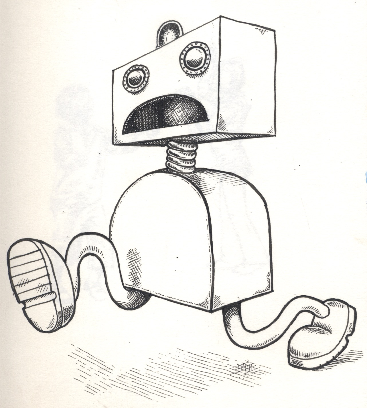 panic robot illustration