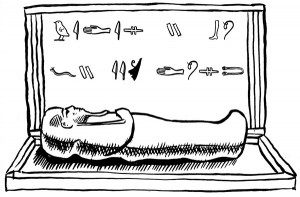 illustration of sarcophagus for museum