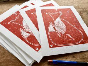 red fox lino prints weird esoteric Welsh illustration original art