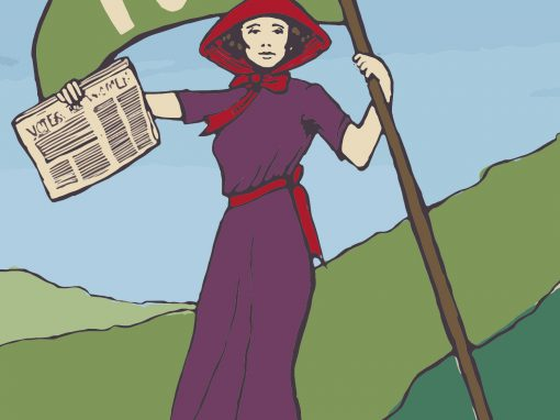 Suffragette information banners and programme