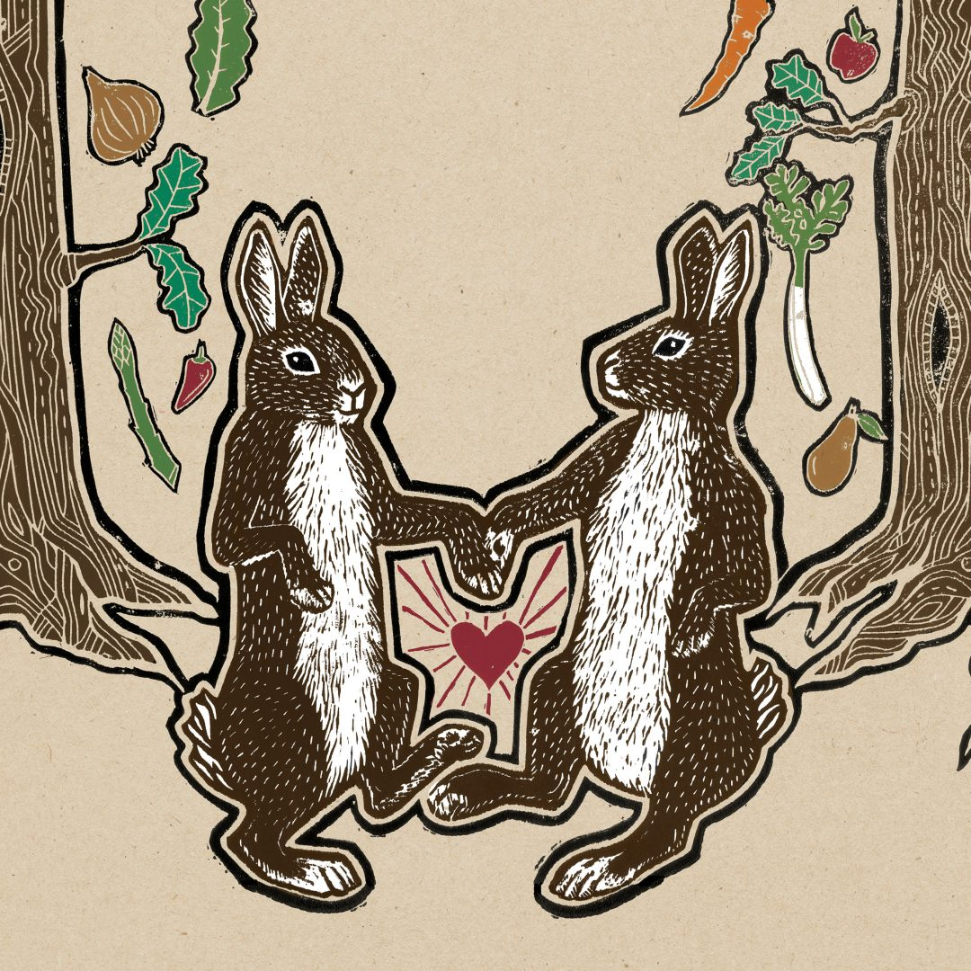 lino illustration of rabbits dancing Wales illustrator Frank Duffy The Warren Carmarthen