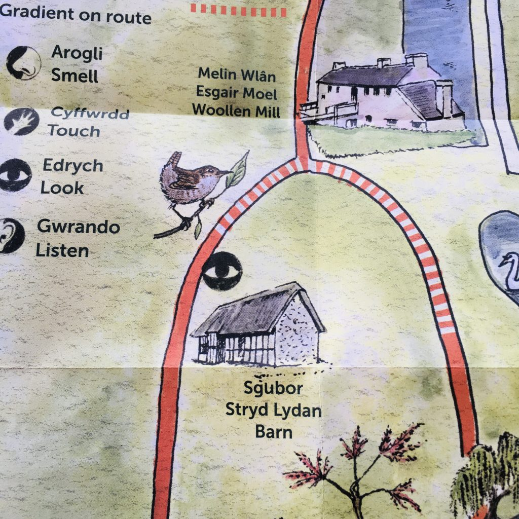close up of illustrated map for St Fagans visitor attraction showing symbols and wildlife illustration